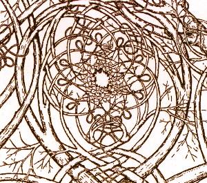 A drawing based on Leonardo da Vinci's fresco at Castello Sforzesco in Milan