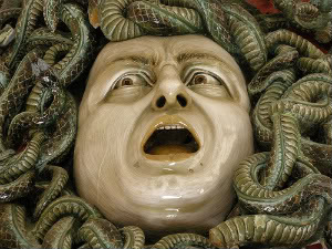 A close-up of the Medusa