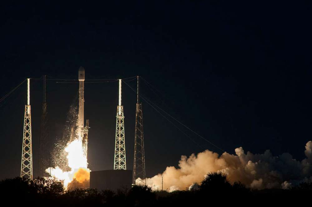Falcon 9 and SES 8 lift off from the SpaceX launch pad at Cape Canaveral
